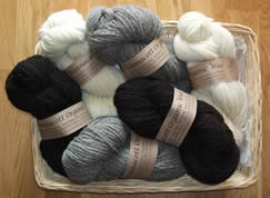 Wonnacott Organic Wool. 100% new wool from our own sheep. Three natural colours sold in 100g skeins of double knitting yarn, approximately 220 metres in length.